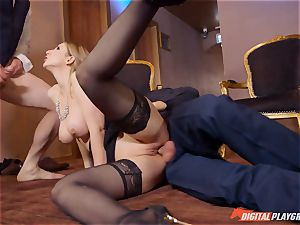 insatiable stunner Stella Cox takes two peckers deep in her fuck holes
