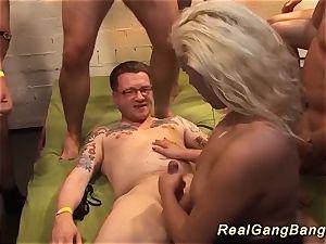 buxom german milf extraordinary gang boned