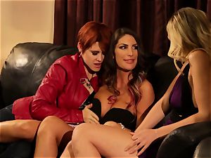 August Ames and Lily Cade strap on couch lovemaking