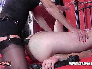wild victim choking and humping femdoms yam-sized strap dildo man meat