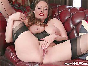 congenital huge funbags black-haired Sophia Delane wanks in nylons