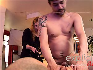 buxom French nubile in a naughty threesome double penetration