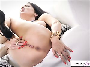 Jessica Jaymes show you her hefty knockers and humid fuckbox