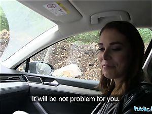 Public Agent Backseat internal ejaculation for Jessica Beil