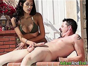 wonderful Latina wanking her aroused man