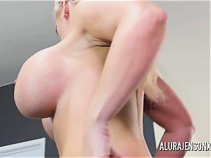 yam-sized hooter sex industry star Alura Jenson fucks a hung junior dude