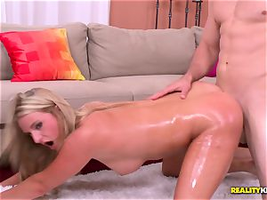 uber-cute light-haired Payton Simmons oiled up and banged