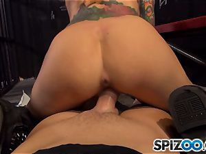 provocative Sarah Jessie riding manhood