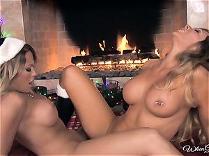 fate Dixon and Capri Cavalli fun in front of the fire