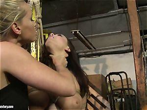 Kathia Nobili lash the tongue of beauty damsel