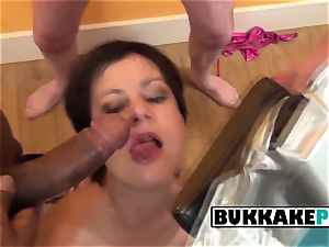 Housewife loves getting her gullet stuffed with jizz loaded dicks