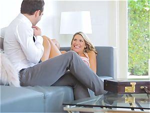 August Ames rails Logan Pierce on the sofa