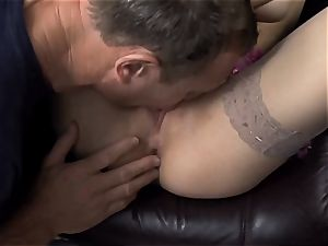 Beata screwed in naked thigh high tights