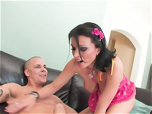 Dark haired Bailey Brooks with inborn bosoms getting banged deep