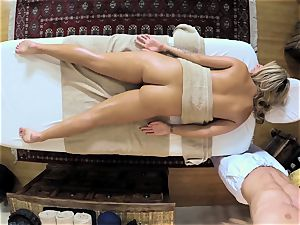 super-hot platinum-blonde Madelyn Monroe tucked in her raw labia