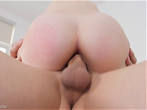 little wondrous platinum-blonde Lily Rader inserted scrotum deep with massive weenie