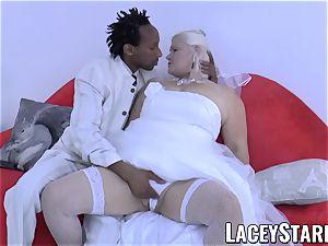 LACEYSTARR - grandma bride fed with jizm after porking