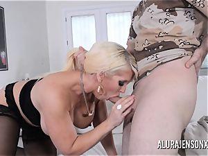 huge-titted blond Alura Jenson likes a man in uniform