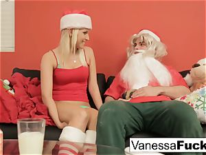 Vanessa letting Santa nail her taut humid cunt