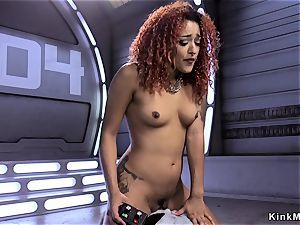 dark-hued shovs machine in slit and butt