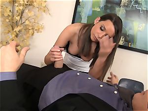 Sally Charles licking on the bosses phat shaft