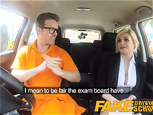 fake Driving college Posh insane huge-chested examiner