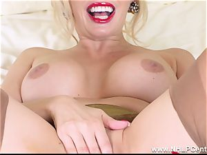 blond cougar finger plumbs coochie in vintage girdle nylons