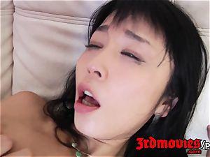 hairy asian Marica Hase boned rigid