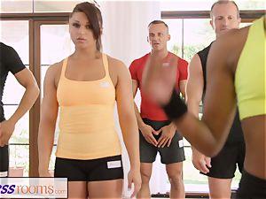 FitnessRooms perspiring bosom in a room utter yoga honeys