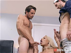 big-boobed Bridgette B pulverized by 2 wild draped guys