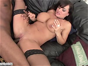 multiracial porno with mature beauty Lisa Ann with hefty milk cans