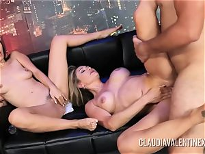 Claudia Valentine joins a couple for a three way