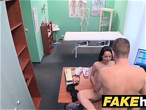 fake medical center Doctors trunk spreads molten Portuguese babe