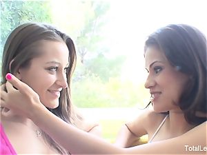 huge-chested dark-haired Vanessa tempts her stellar stepsister Dani