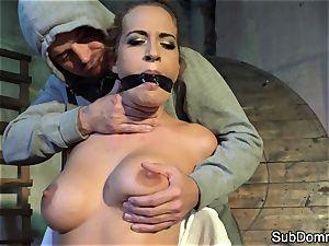 gagged babe orgasms during restrain bondage