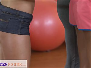 fitness rooms Gym mummy and college girls have wet 3some