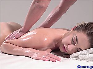 steaming massage turns to sensuous intercourse and this brown-haired goddess loves it