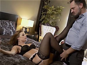 Nylons Sn five Britney Amber wears cool stocking as she nails