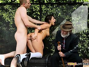 hilarious situation of gash rammed daughter and her granddad watches at bus stop - Abella Danger and Bill Bailey