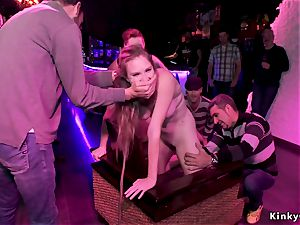 european marionette drilled and fisted in public
