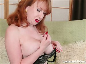 big-titted crimson finger humps vulva in garter nylons and pumps