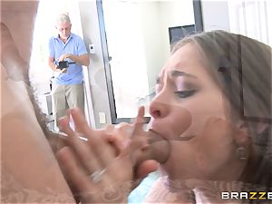 Mean wife Riley Reid takes it deep in front of her husband