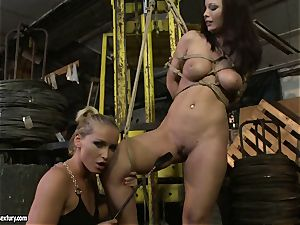 Kathia Nobili spanking the culo of sizzling woman with crop