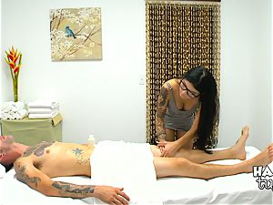 Brenna Sparks with hidden camera on her jaw-dropping massage table