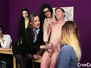 Cfnm dominatrixes milking