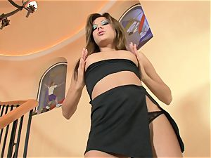 Anita clitoris cool babe de-robe taunting at the stairs