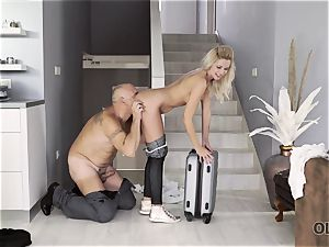 OLD4K. Winsome nubile and older lover culminate day with impressive romp
