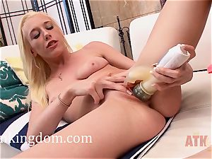 youthful ash-blonde Roxy Nicole using a toy to get off