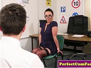 UK nurse milking in office before facial