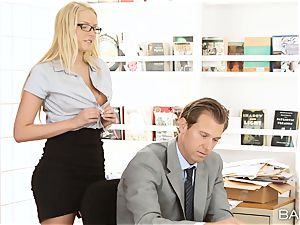 Vanessa cell bends over the desk and takes her bosses meatpipe